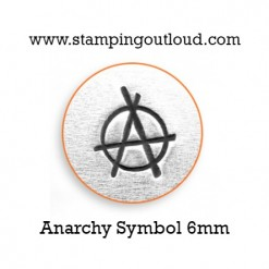 Anarchy Symbol Metal Design Stamp on a metal blank