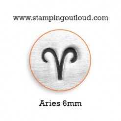 6mm Aries Zodiac Sign Stamped on Metal Blank