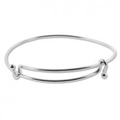 Bright Silver Plate Expandable Wire Bracelet