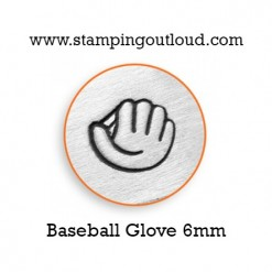 Baseball Glove Metal Design Stamp on a metal blank