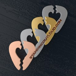 Broken Heart Guitar Pick Shaped Stamping Blanks
