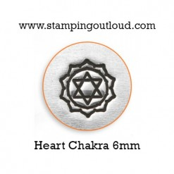 Heart Chakra Metal Design Stamp on a Metal Blank