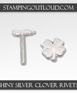 Shiny Silver Clover Rivets