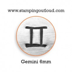 6mm Gemini Zodiac Sign Design Stamped on a Metal Blank