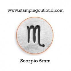 6mm Scorpio Zodiac Sign Design Stamped on a Metal Blank