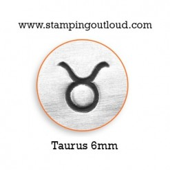 6mm Taurus Zodiac Sign Design Stamped on a Metal Blank