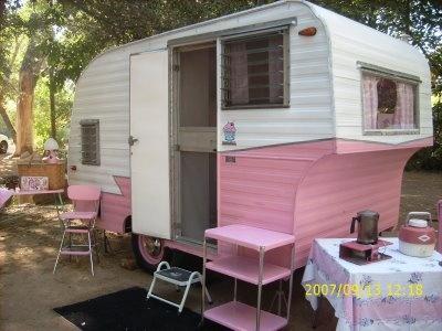 tiny pink camper