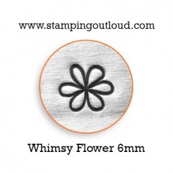 6mm Whimsy Flower Design Stamped on a Metal Blank
