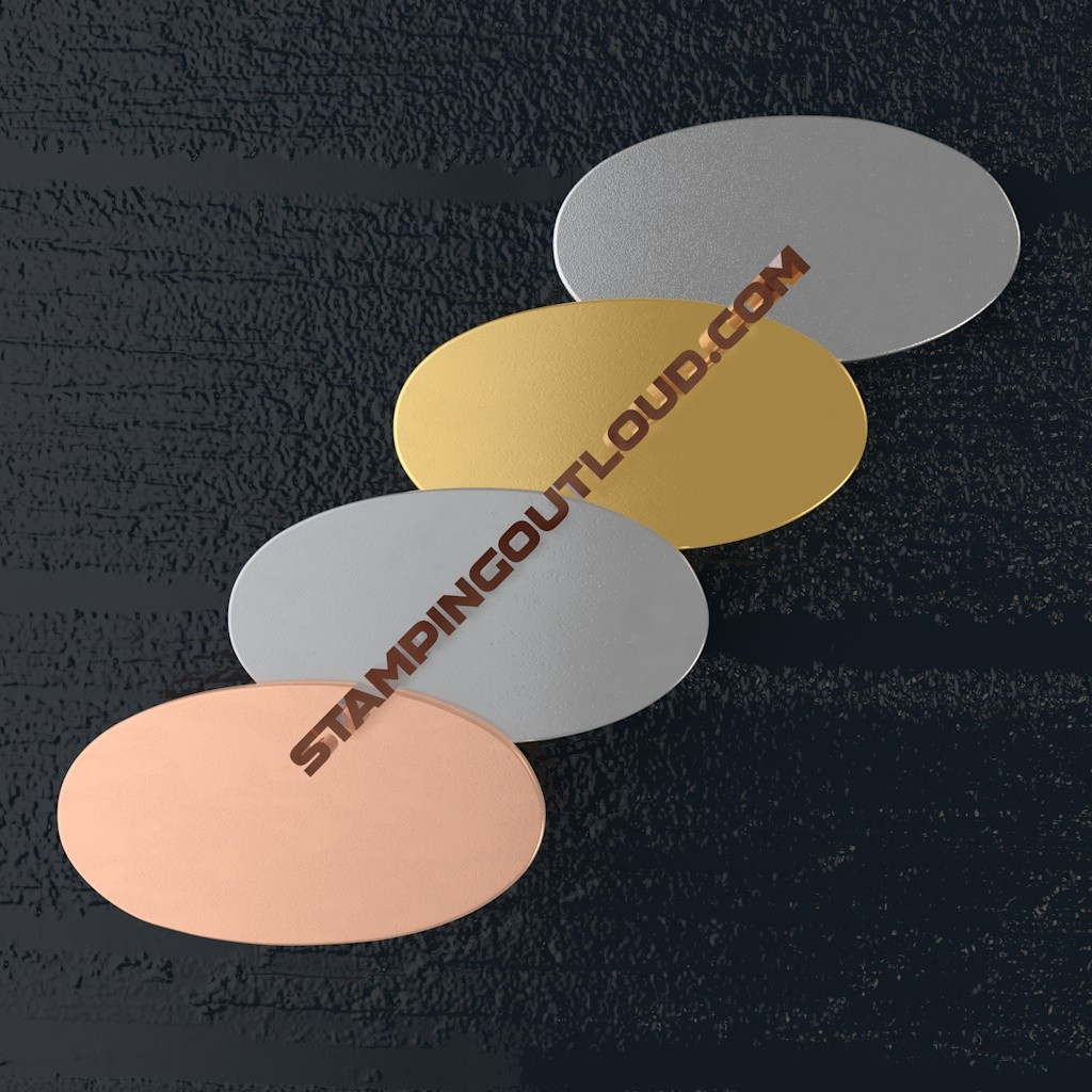 Narrow Oval Metal Blank in Copper, Aluminum, Brass, and Nickle Silver