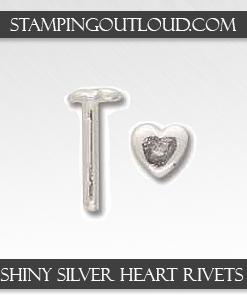 Shiny Silver Heart Rivets