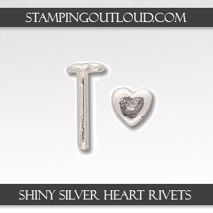 Shiny Silver Heart Rivets